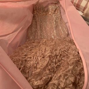 Dresses - Champagne Fully Beaded Mermaid Pageant Gown